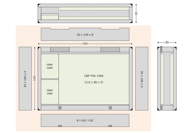 PCでおおまかな設計図を作成。ハガキ大の中に、市販のフォーム材とクリアケースを収めます