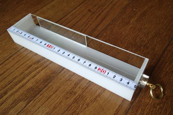 完成したメジャリングケース。初期型から数えて3代目モデル
